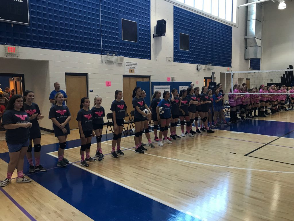 Lineup of the middle school's teams during the Dig Pink event