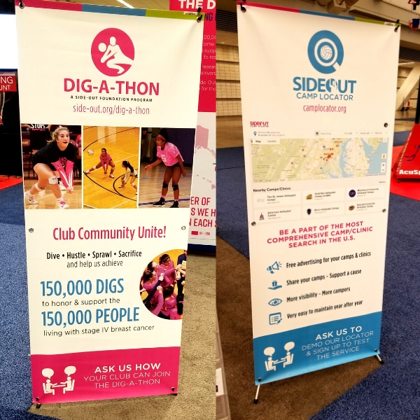 Banners to showcase the Dig-A-Thon and Camp Locator at the AVCA Convention