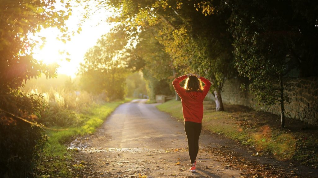 Walking along a path for wellness