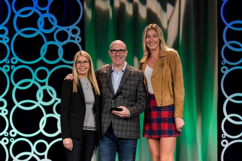 Rick receiving the Courage Award at the AVCA Convention