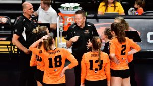 Oregon State Head Volleyball Coach in Team Huddle