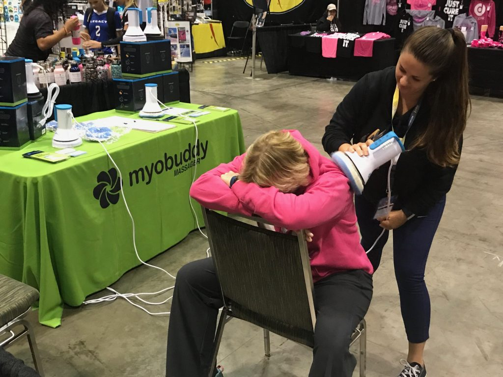 Janice receiving a massage.