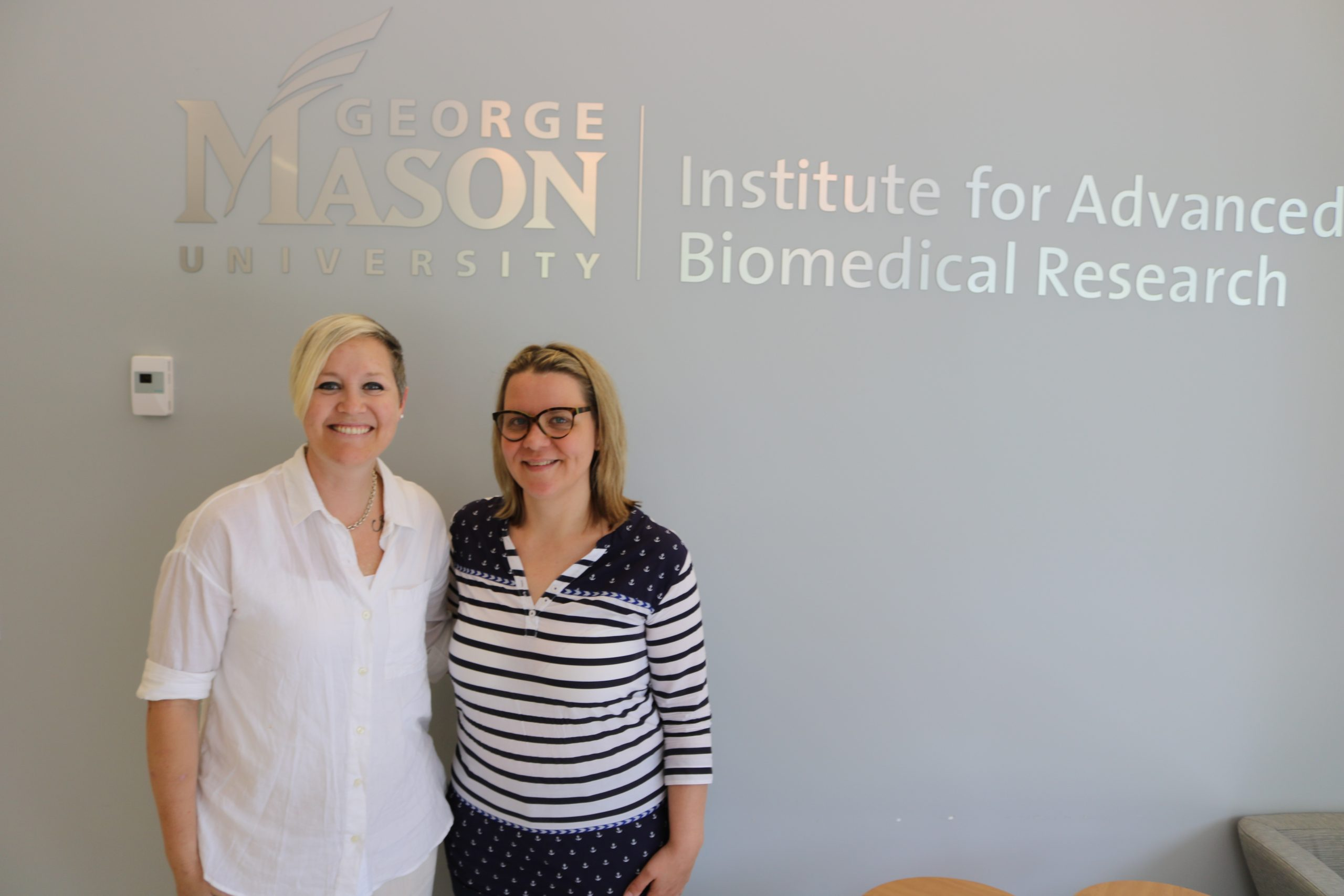 Lyndsay Hodges with Mariaelena Pierobon, one of Side-Out's research scientists.